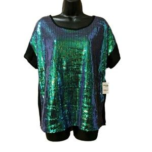 NWT Sz S CHARLOTTE RUSSE Blue Green Sequined Top